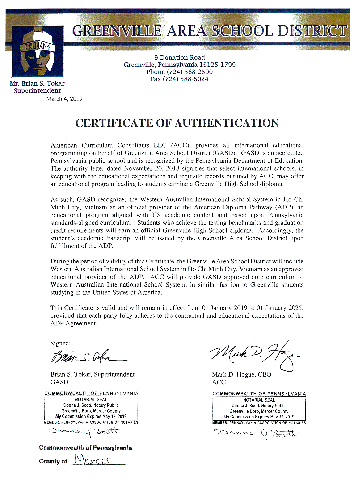Certificate of Authentication of Greenville