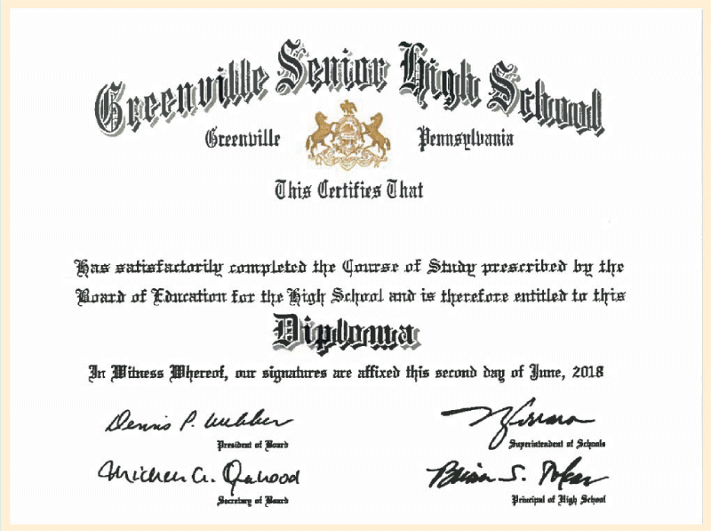 American Diploma Programme Certificate