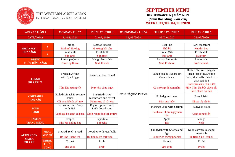 Thực đơn tháng 09/2020 (Mầm non)