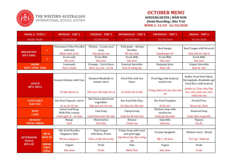 Thực đơn tuần 2 tháng 10/2020 (Mầm non)