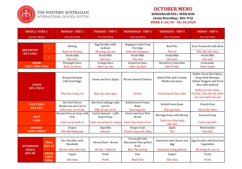 Thực đơn tuần 4 tháng 10/2020 (Mầm non)
